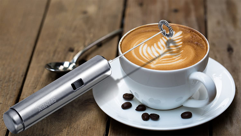 spinex espumador de leche - café latte & Cappuccino - eléctrica bebida mezcladores - perfecto cremosa leche en segundos - Jarra de acero inoxidable con 2 ...