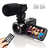 Camcorder Video Camera IR Infrared Night Vision Full HD 1080P 24MP Camcorder With 16X Digital Zoom, 3 Inch LCD 270 Degree Touch Screen Video Recorder With External Microphone 2 Batteries