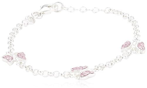 ZEEme Kinder-Armband Silber 925 Schmetterling 16/14cm Kristall pink 299260046-16-1
