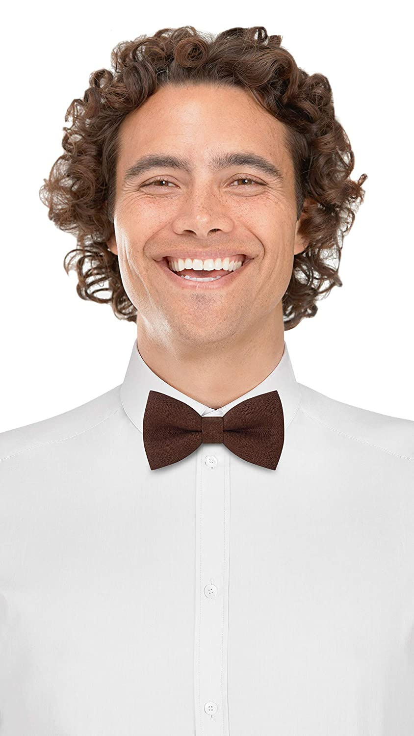 Small, Black by Bow Tie House Linen Classic Pre-Tied Bow Tie Formal Solid Tuxedo