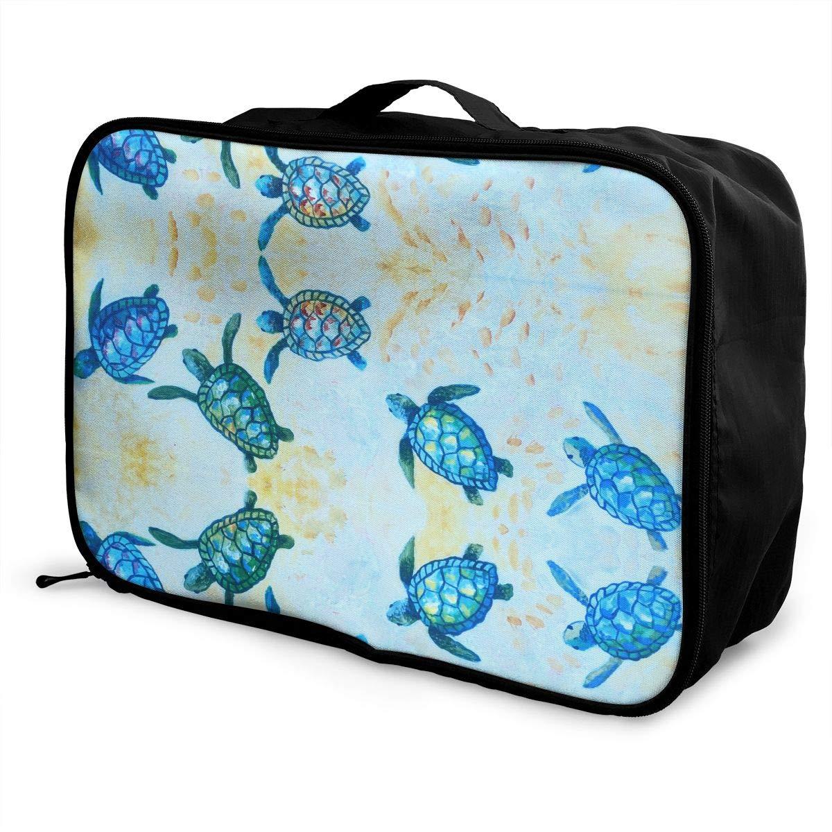Travel Duffel Bag Waterproof Fashion Lightweight Large Capacity Portable Luggage Bag Blue Baby Sea Turtle