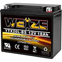 $49 » Weize YTX20L-BS High Performance Power Sports- Maintenance Free - Sealed AGM Battery…