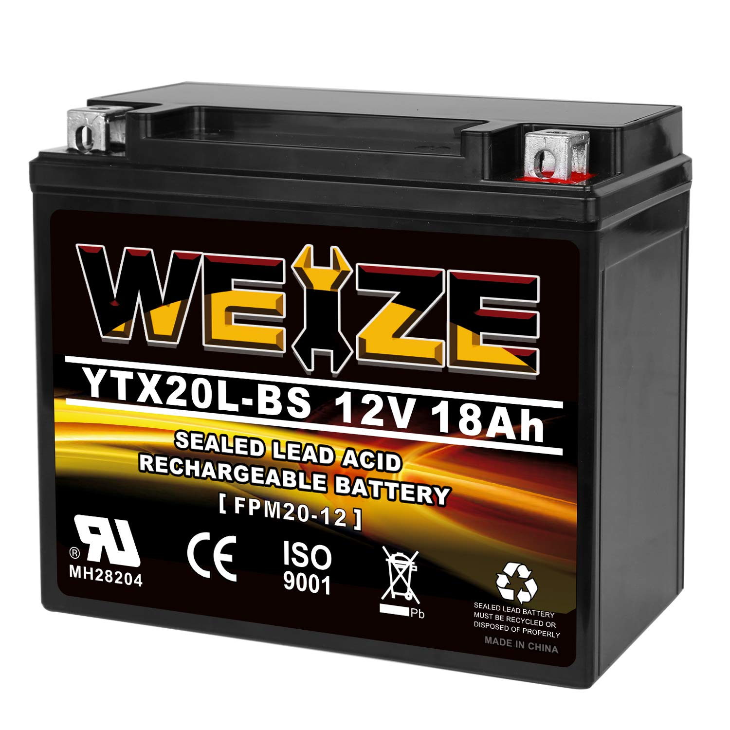 Weize YTX20L-BS High Performance Power Sports- Maintenance Free - Sealed AGM Battery ETX20L BS For Motorcycle ATV UTV snowmobile by WEIZE