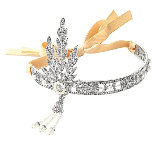 1920s Flapper Headbands Silver-Tone The Great Gatsby Inspired Flapper Leaf Simulated Pearl Wedding Tiara Headpiece $12.99 AT vintagedancer.com