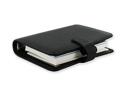 Filofax Saffiano Pocket Size PU-Leather Organizer Agenda Diary Black 2016 Calendar with DiLoro Jot Pad Refill 022468