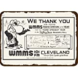 GRYD Metal Sign 8x12 Inches 1982 WMMS 101 FM Cleveland #1 Rock Radio Station Vintage Look Replica Metal Sign