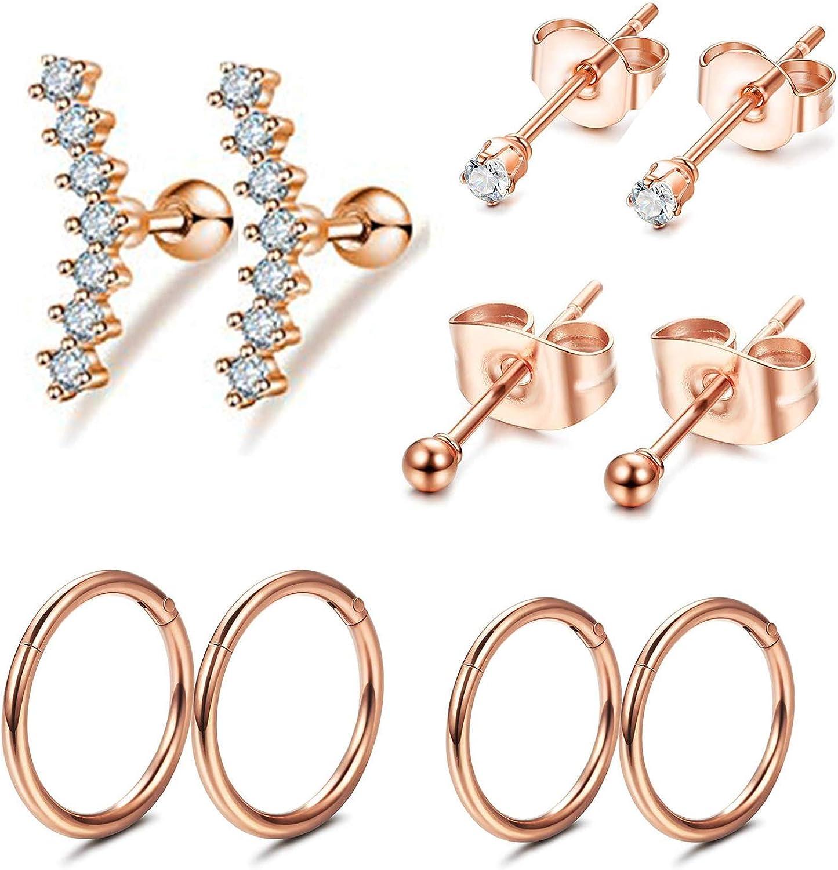 FIBO STEEL Cartilage Earrings for Women Men Ball CZ Stainless Steel Stud Earrings Helix Conch Daith Piercing Jewelry Set RG
