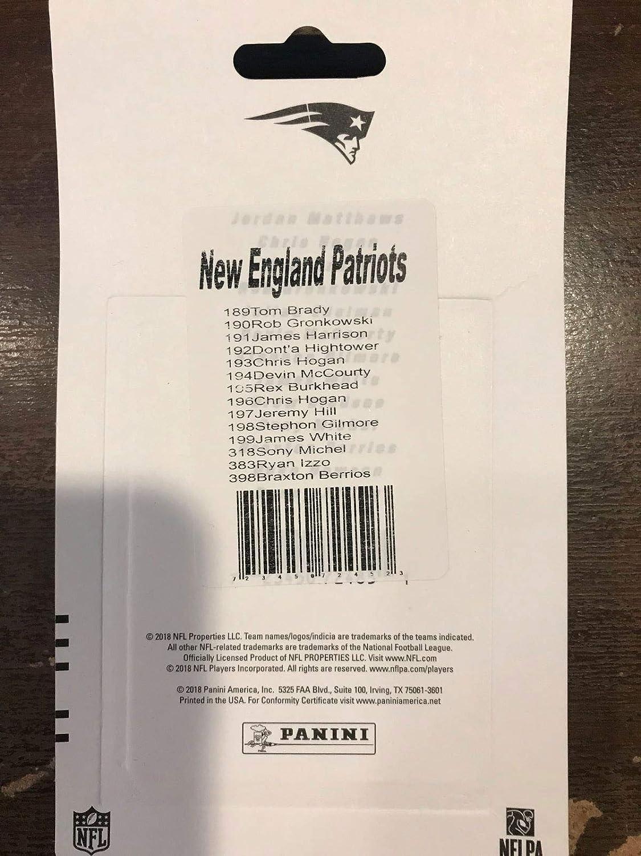 New England Patriots 2018 Panini 14 Karten Team Set mit Tom Brady Julian Edelman Sony Michel Rookie Karte plus Rob Gronkowski