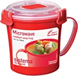 Sistema Microwave Soup Mug, 656 ml - Red/Clear