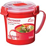 Sistema Microwave Cookware Soup Mug, Medium, 22.1 Ounce/ 2.8 Cup, Red