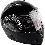 XFMT Dot Gloss Black Modular Flip Up Dual Visor Sun Motorcycle Helmet M
