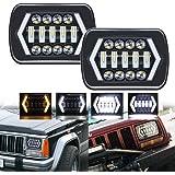 ROCCS 7x6 LED Halo Headlights, 2PCS Square 7x6 5x7 LED Headlights with Arrow Angel Eyes DRL Turn Signal H4 Plug for Jeep Wrangler YJ Cherokee XJ Trucks Chevy S10 Nissan 240 H6014 H6054 5054 H6052