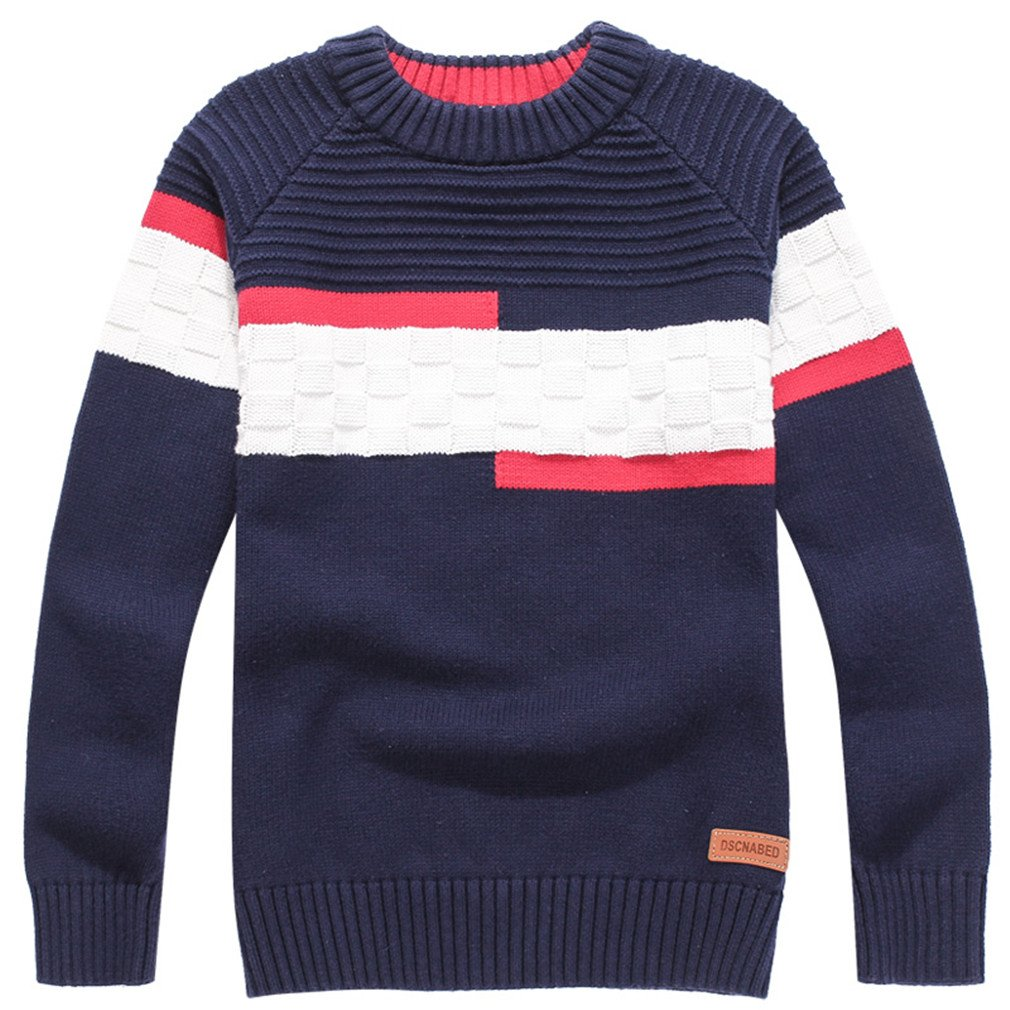 Child Sweater O-Neck 100% Cotton Sweater Boy Pullovers for Kids 4-16 Years Blue 12