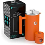 Coffee Gator フレンチプレス コーヒーメーカー(オレンジ) 1000ml ステンレス製で頑丈・保温性抜群 約4杯分 携帯用ミニ容器付
