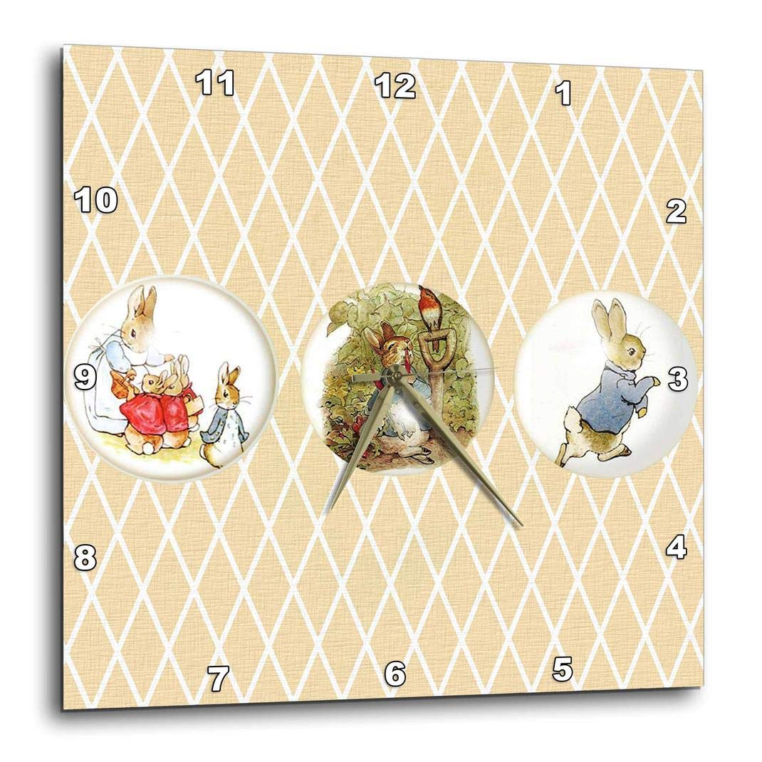 Wall Clock 10 by 10-Inch 3dRose Peter Rabbit and Friends- Stories- Vintage Art DPP/_99146/_1