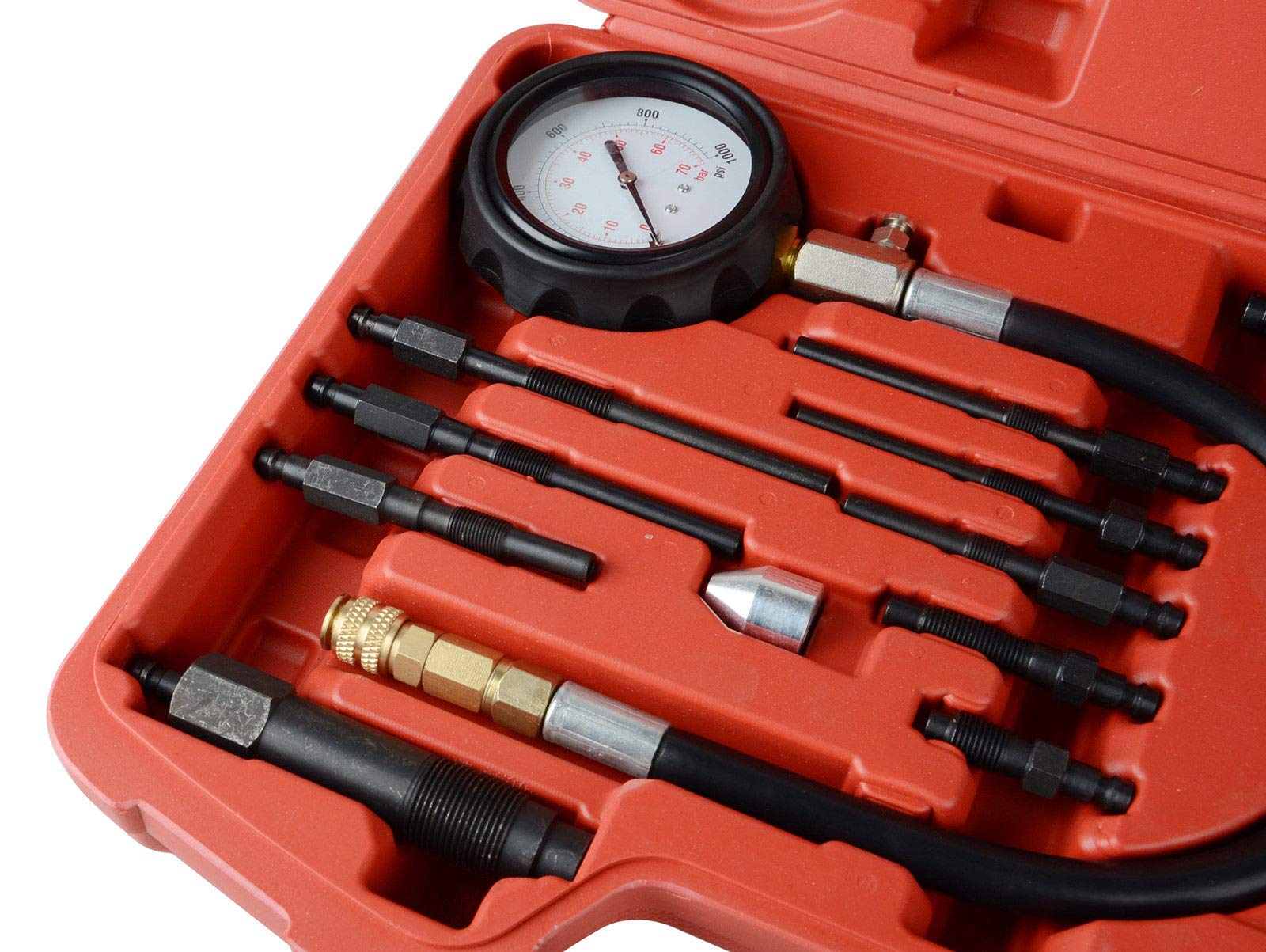 YOLO Stores - Compression Tester Diesel Engine Kit 17pc Tool Set Automotive Compressor, 0-70 Bar/0-1000 Psi, 17 Pieces by YOLO Stores (Image #4)