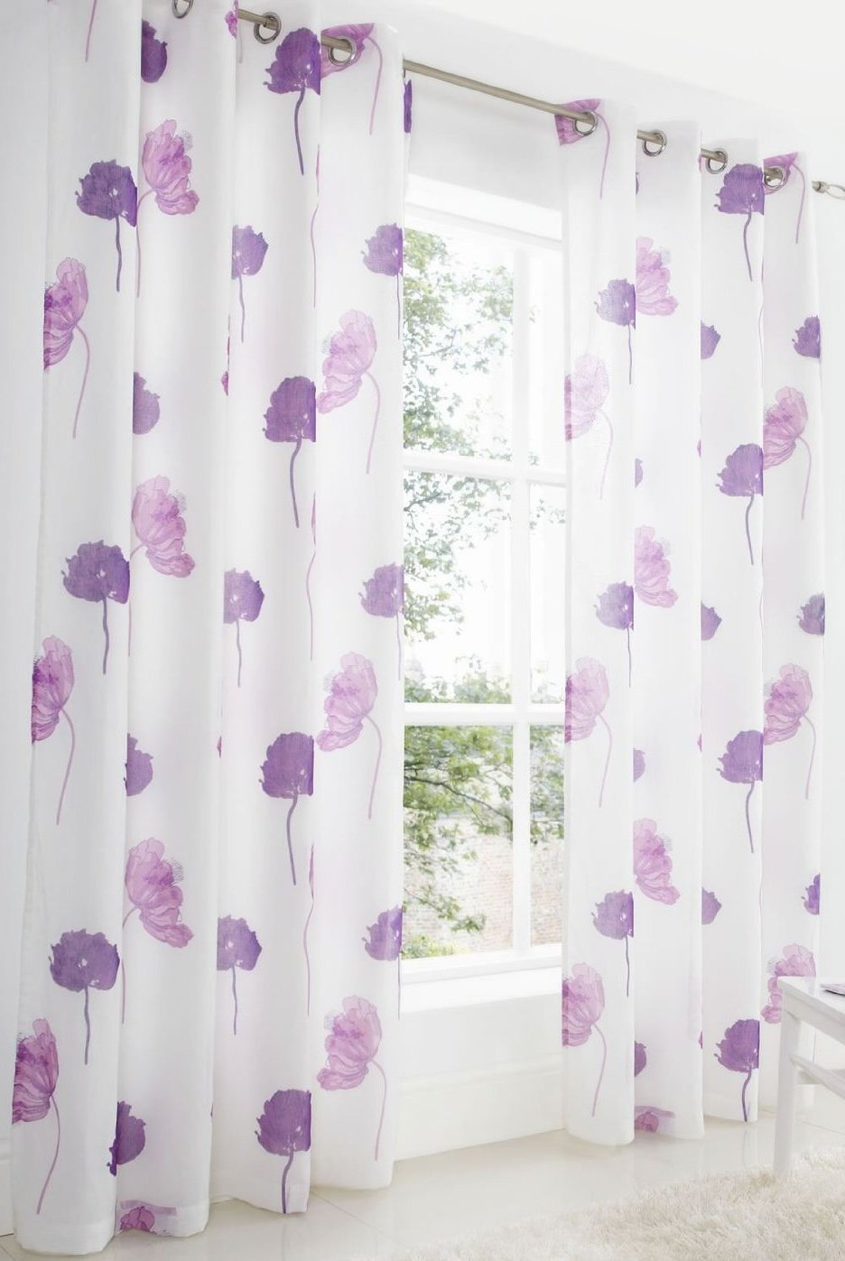 plain made set curtains solid cotton shot purple homescapes ready pair eyelet curtain