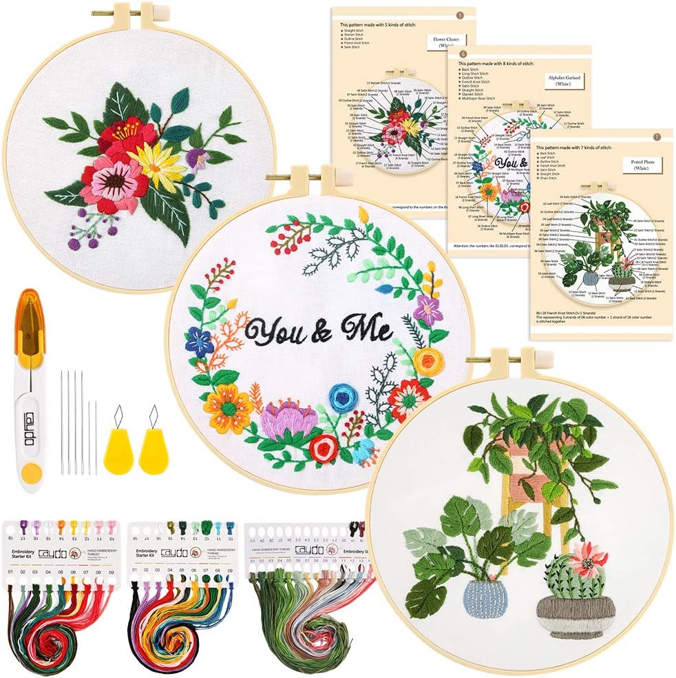 Caydo 3 Sets Embroidery Starter Kit with Pattern and Instructions, Cross Stitch Beginner Kit, 3 Embroidery Clothes with Plants and Floral Pattern, 3 Plastic Embroidery Hoops, Color Threads and Tools