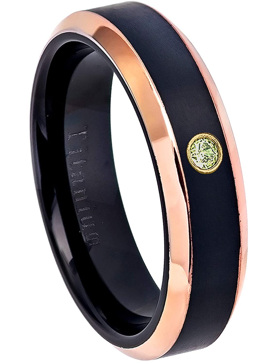 6MM Black Ion Plated /& Rose Gold Plated Beveled Edge Comfort Fit Titanium Wedding Band August Birthstone Ring 0.07ct Peridot Titanium Ring