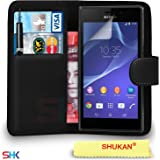 Sony Xperia M2 Black Premium Leather Wallet Flip Case Cover Pouch + Mini Touch Stylus Pen + Screen Protector + Polishing Cloth BLCVL BY SHUKAN®, (Wallet Black)