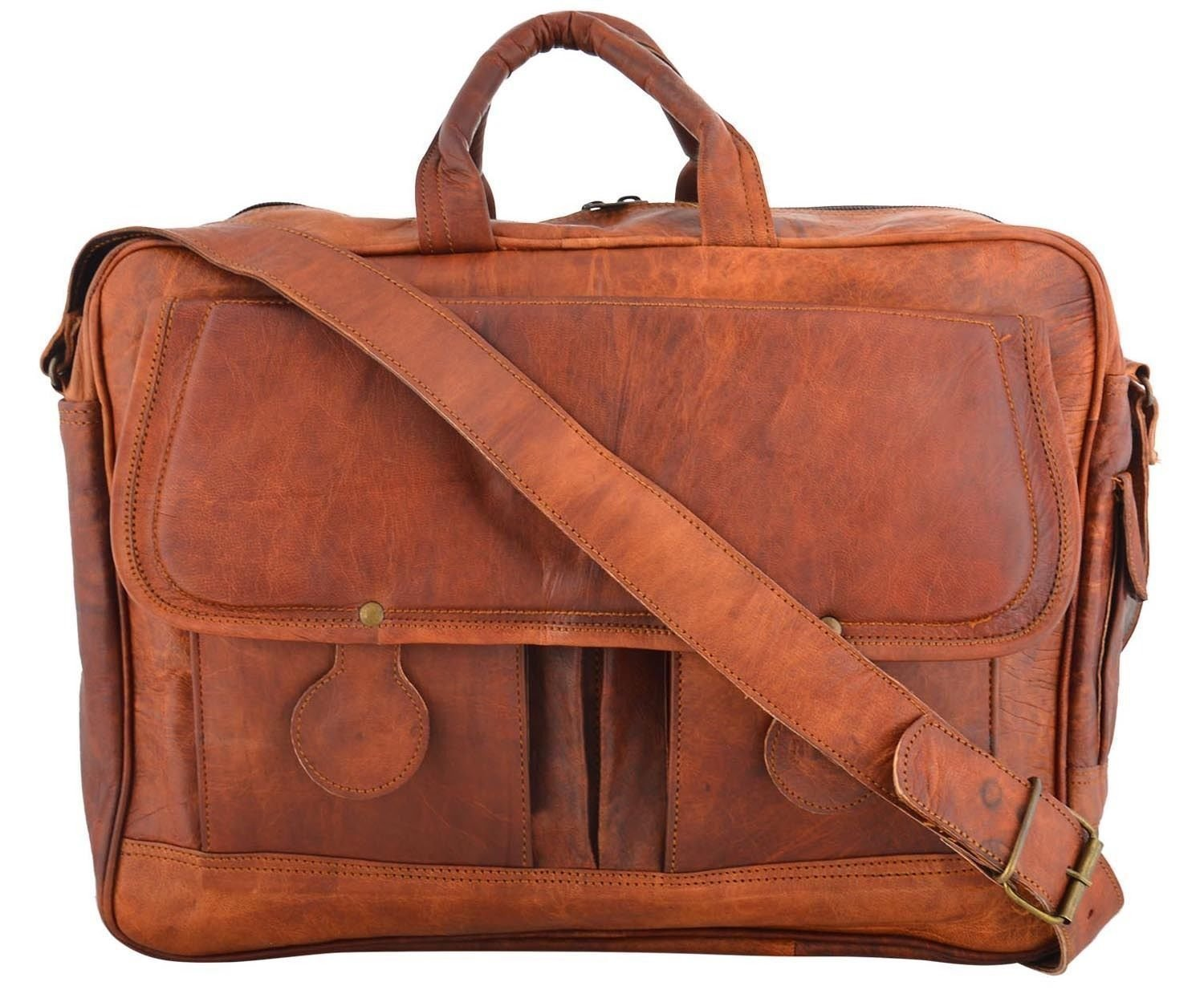 Shakun Leather Messenger Bag Briefcase Laptop Bag Computer Shoulder Satchel NEW
