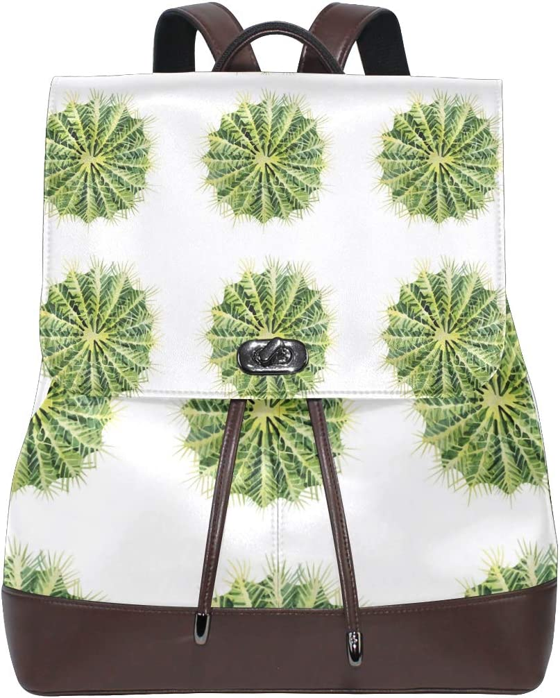 Leather Watercolor Green Cactus Backpack Daypack Bag Women