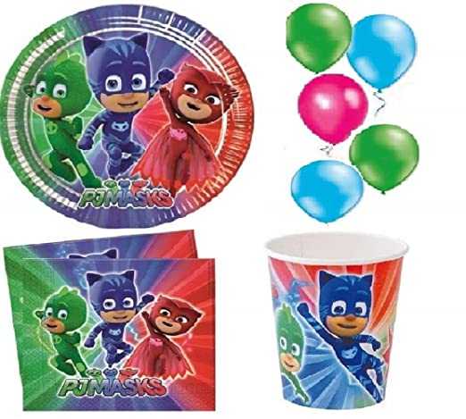 kit de fiesta de cumpleaños de fiesta PJ MASKS para 8 ...