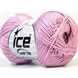 Lot of 6 Skeins Ice Yarns CAMILLA COTTON Yarn Pink 100/% Mercerized Cotton