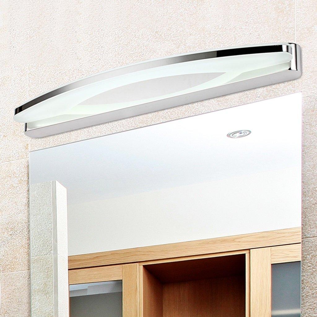 & Spiegellampen LED Spiegel Scheinwerfer Edelstahl Makeup Lichter Badezimmer Badezimmer Spiegel Licht Anti-Fog wasserdichte Wandleuchte Badezimmerbeleuchtung (Farbe   Warmes Licht-17W 80CM)