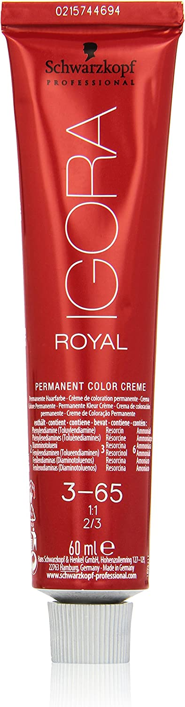 Schwarzkopf Professional Igora Royal Tinte Permanente, 60 ml, 3-65 Castaño Oscuro Chocolate Dorado (4045787199284)