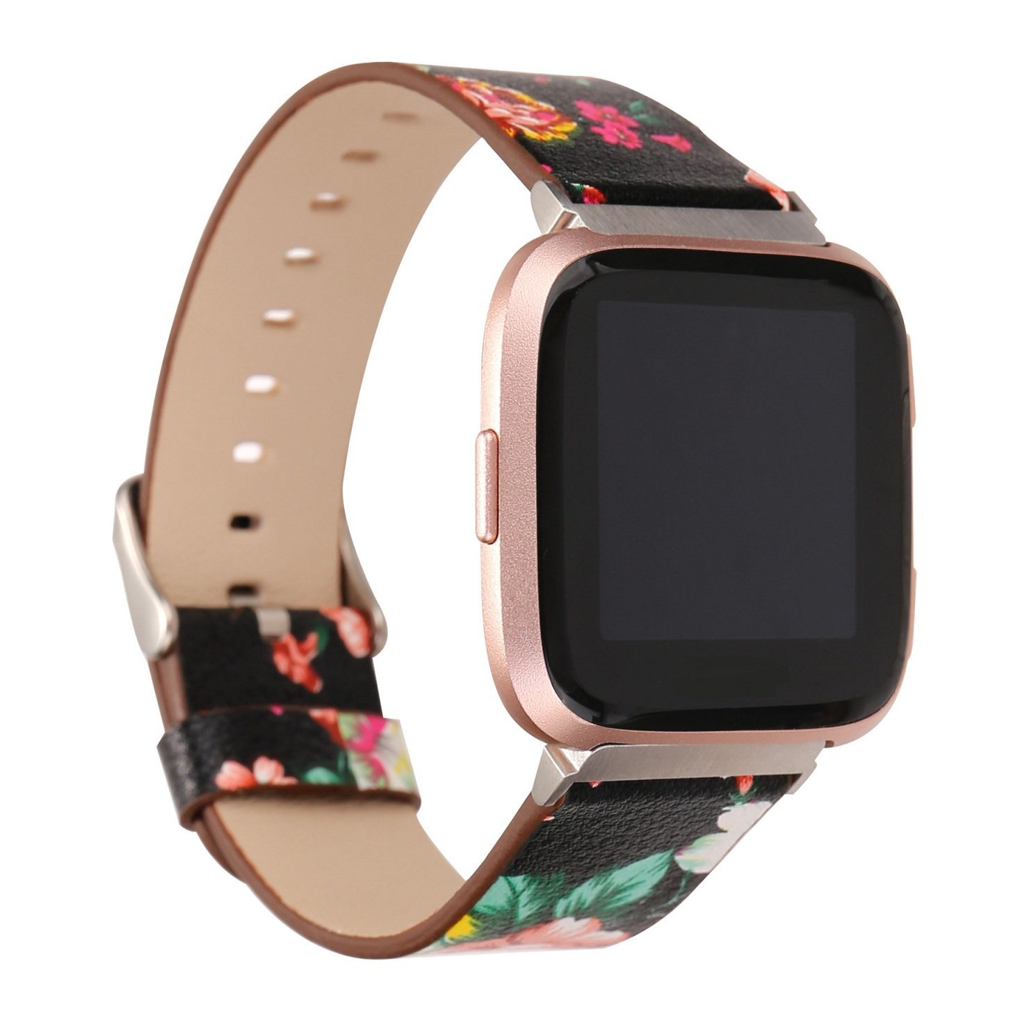 Juzzhou Smart Watch Band For Fitbit Versa Watchband Wriststrap Leather Motley Flower Bracelet Replacement Wrist Strap Wristband With Metal Adapter Adjustable Buckle Clasp For Woman Lady Girl Black by Juzzhou (Image #3)
