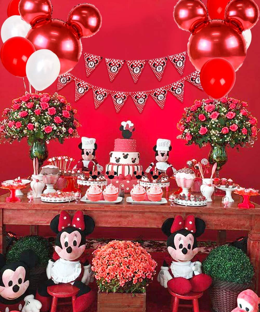 guirnalda de cumplea/ños feliz y adorno para pasteles Decoraciones de cumplea/ños de Minnie Mouse para ni/ñas Suministros para la fiesta Minnie rosa con globos tipo Minnie Mouse