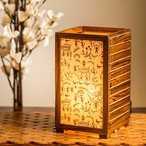 Exclusivelane Teak Wood Warli Hand Painted Table Lamp