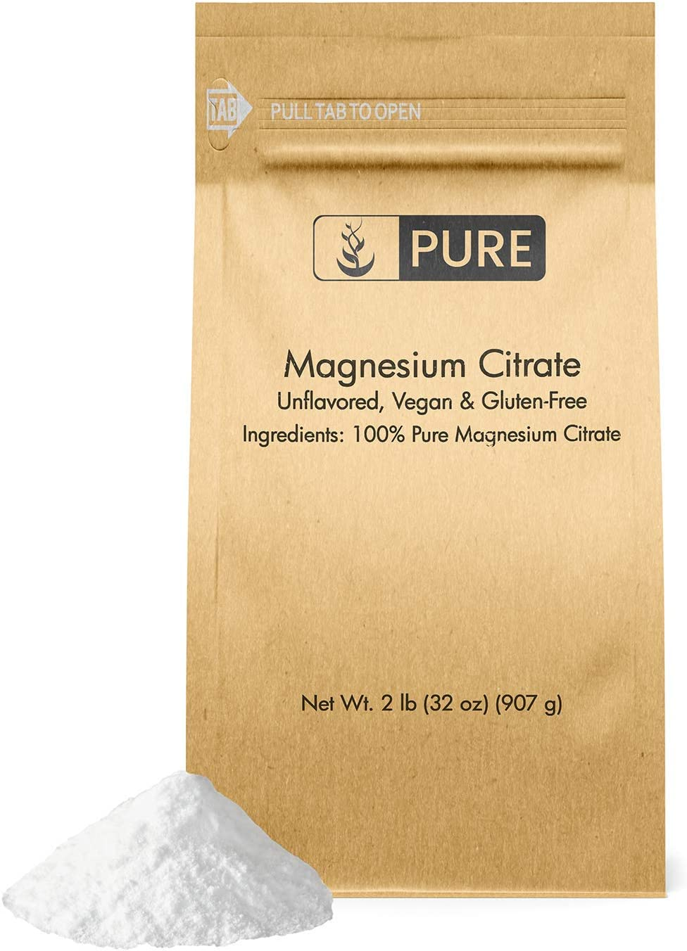 100% Pure Magnesium Citrate Powder, 2 lb, 3225mg Serving, No Filler or Additives, Gluten-Free, Made in The USA, Bioavailable, Unflavored, Vegan, Eco-Friendly Packaging