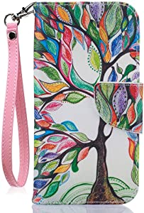 JanCalm iPhone8 Wallet Case, iPhone7 Case, [Card/Cash Slots] [Wrist Strap] PU Leather Wallet Cover Flip Cell Phone Cases for iPhone 7 / iPhone 8 + Crystal Pen (Beautiful Tree Pattern)