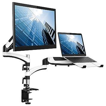 Soporte de monitor doble, monitor de aleación y soporte para computadora portátil con resorte de
