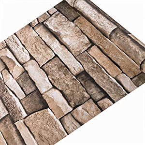Timeet Stone Peel and Stick Wallpaper,Self-Adhesive Wallpaper 3D Stone Textured Removable Wallpaper Décor Film for Room 17.7in x 16.4ft