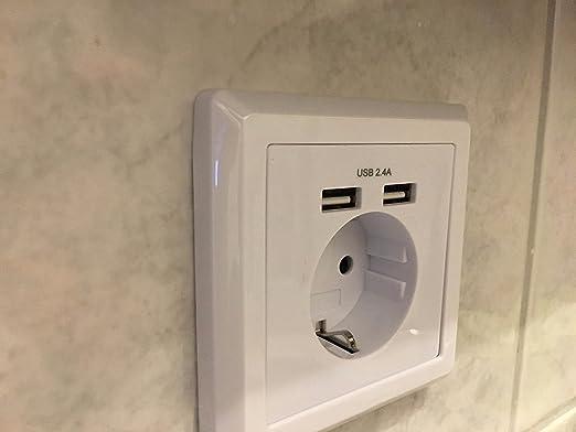 alanan Prise USB Blanc prise de courant Schuko mural encastr/é avec 2/port USB