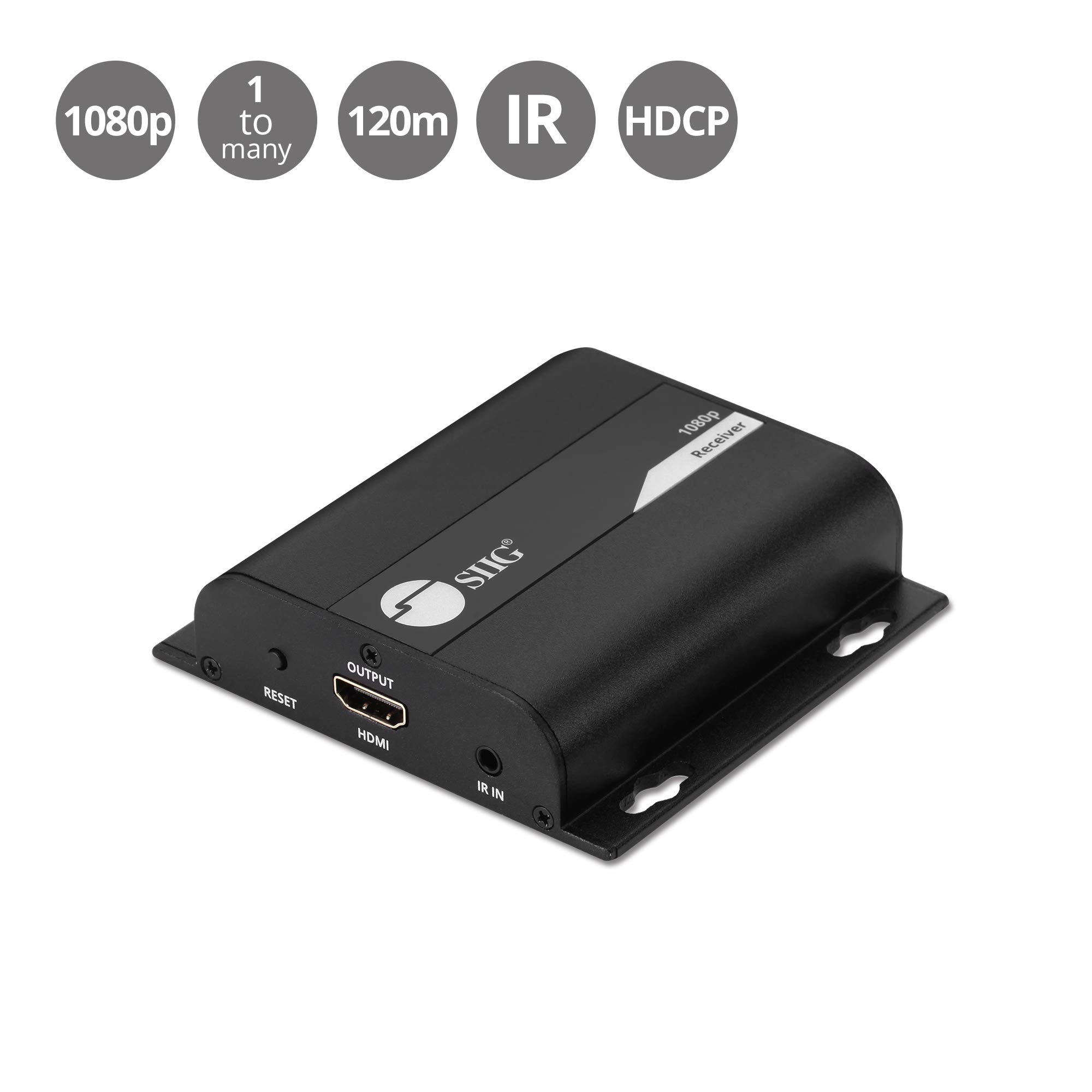 130ft SIIG 1080p @60Hz 1x8 8-Port HDMI Splitter Extender Over Cat6//6A//7 Cable w//HDMI Loopout HDCP 1.2 IR Remote Control- HDMI 1.3 CE-H24811-S1 1 in 8 Out 40M