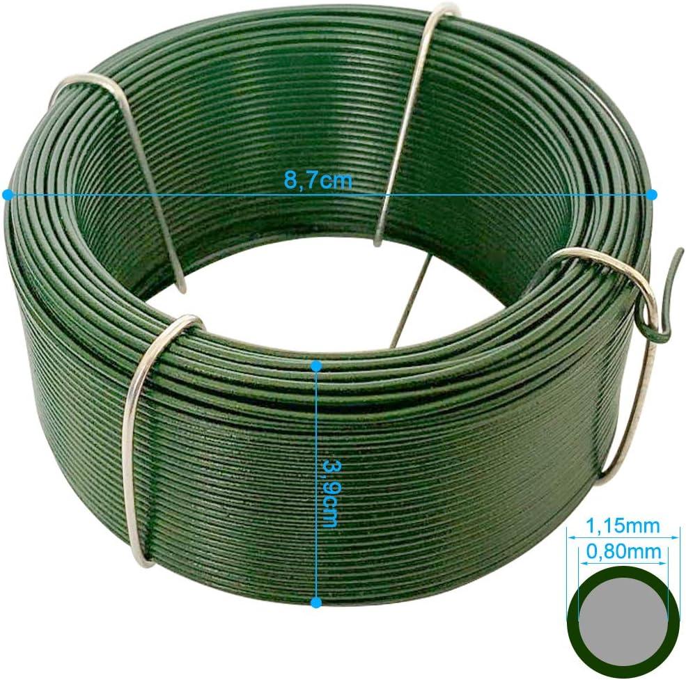 Filo Ferro Plastificato Verde WR8 Amagabeli Garden Home 12PCS X 50M Cavo Metallico Rivestito di Plastica 1.15mm