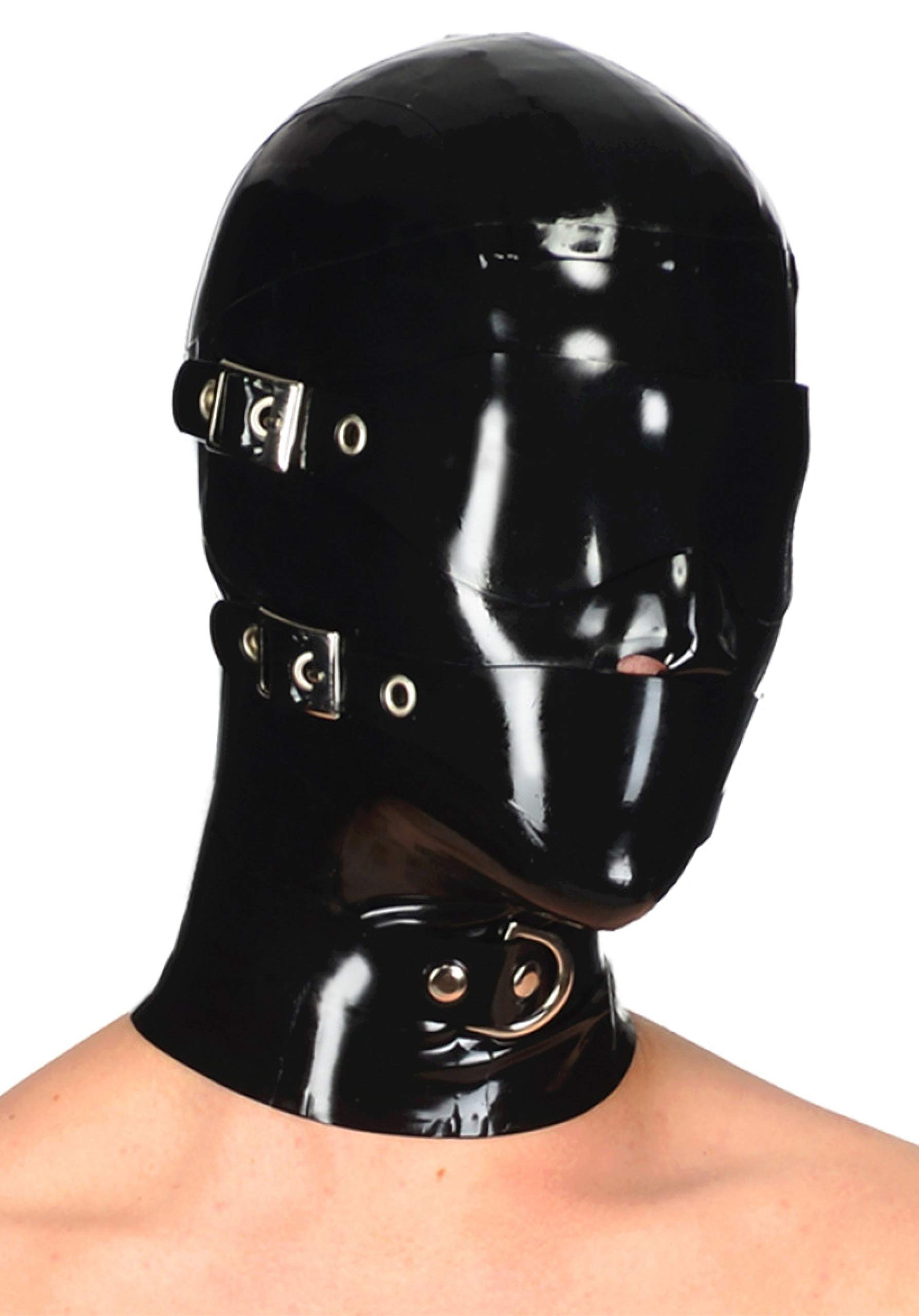 Latex Hood Rubber Full Face Blinder Detachable Cover Eye Mouth Mask Customized 0.4MM (L) Black by Palace Civet