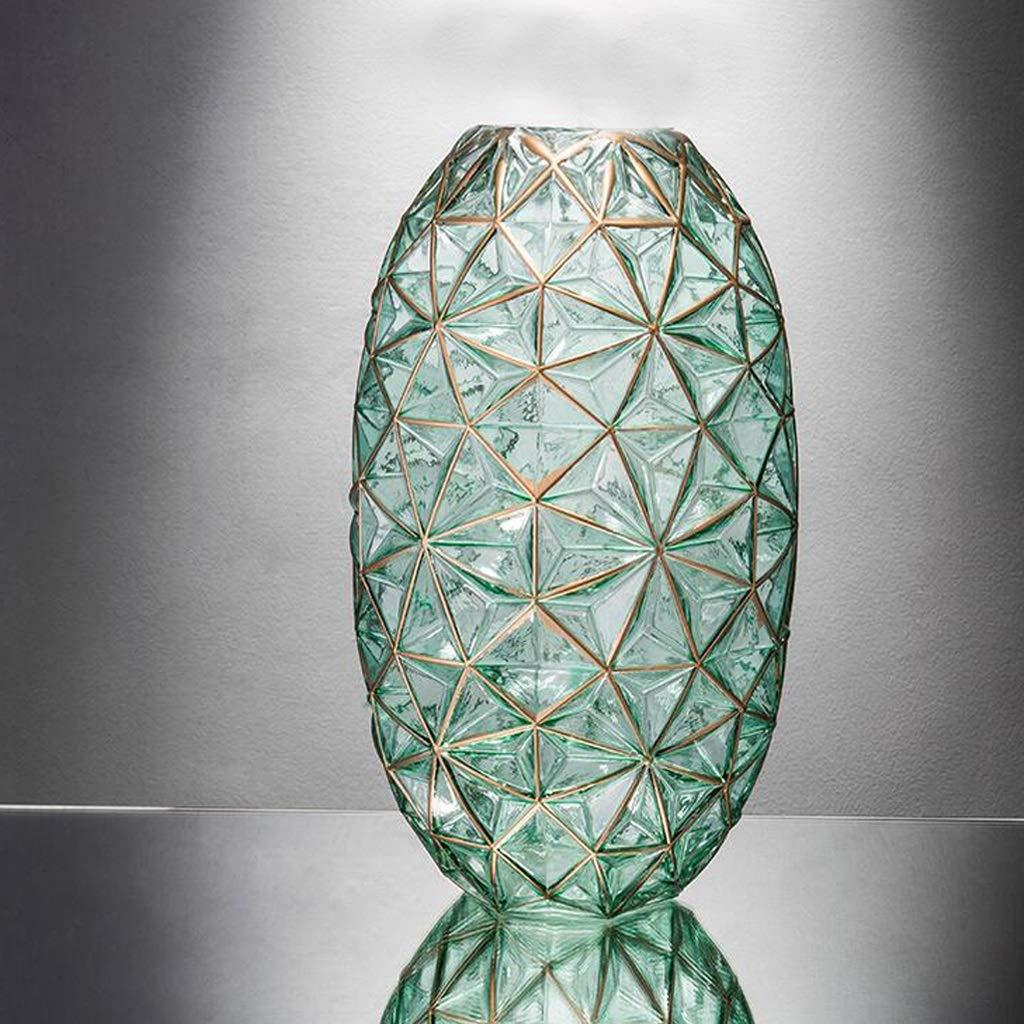 ガラス花瓶/水耕植物花瓶サイズ(7.5×20×34cm) QYSZYG (色 : 緑) B07RBK33XS 緑