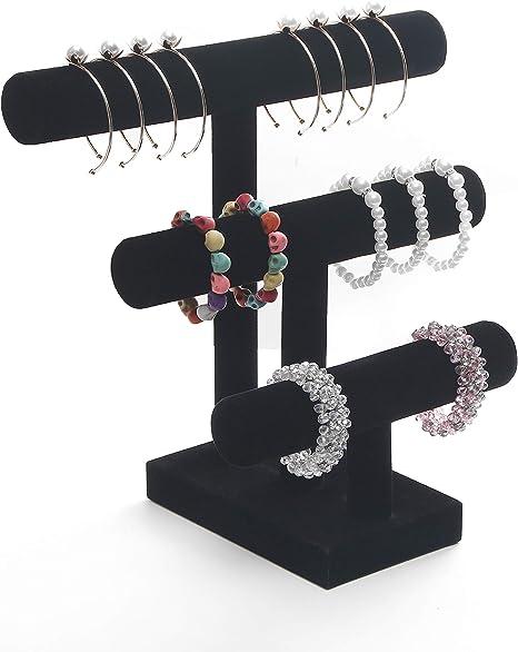 Black 1PCS Vertical Design Jewelry Bracelet Display Stand Velvet Scrunch Organizer T-Bar Tower Holder for Hair Band Scrunchies Bangle Watch