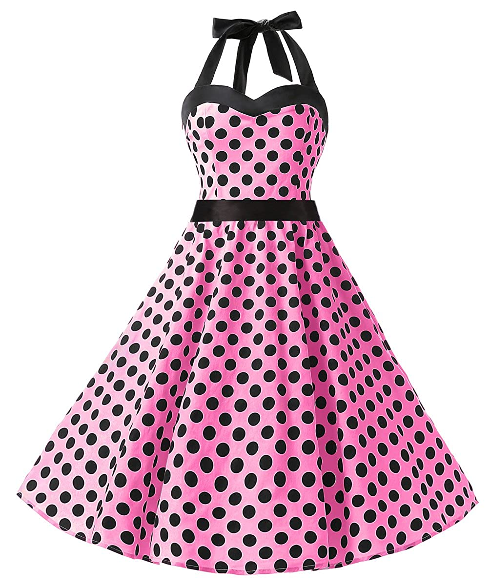 TALLA XS. Dresstells® Halter 50s Rockabilly Polka Dots Audrey Dress Retro Cocktail Dress Pink Black Dot XS
