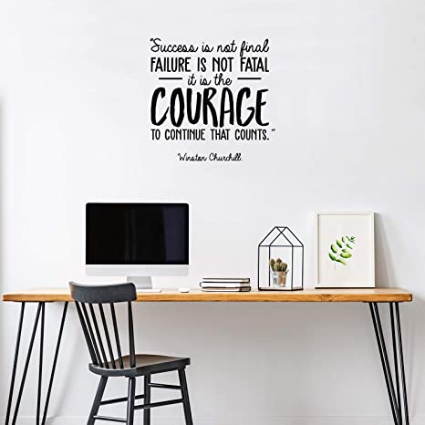 Success Courage Churchill Office Quote Wall Art Stickers Decals Vinyl Home Room Large,Black