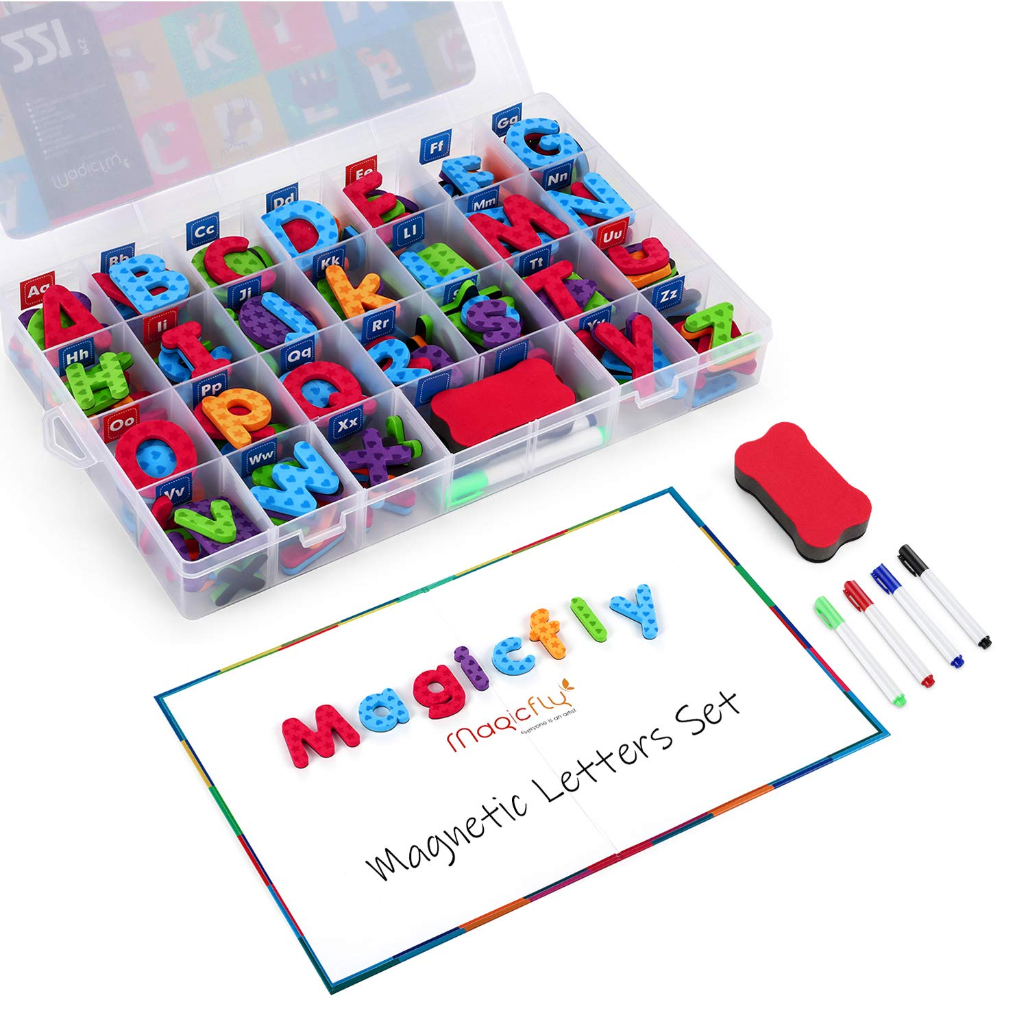 Magicfly 221 Pcs Alphabet Magnets with Foldable Magnet Board & Storage Box, Magnetic Alphabet Letters & Numbers with Double Sides Dry Erase Board for Kids Spelling & Learning by Magicfly