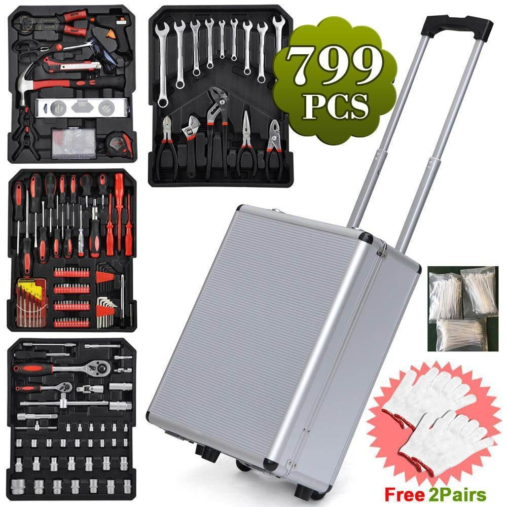 Yaheetech 799pcs Sturdy Aluminium Hand Tool Set Chest Carry Wheeled Case Box Trolley Mechanics Kit Box Organizer