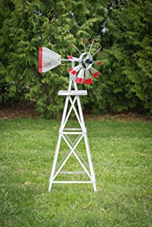 product image for 4 Ft Made in The USA Premium Aluminum Decorative Garden Windmill Green/Yellow Trim