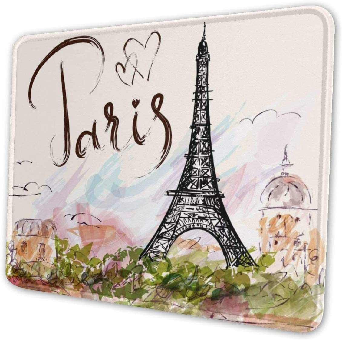 The Famous Paris Eiffel Tower Mouse Pad with Stitched Edge, Premium-Textured Mouse Mat, Non-Slip Rubber Base Mousepad for Laptop, Computer & PC, 10.3x8.3x0.03 inch
