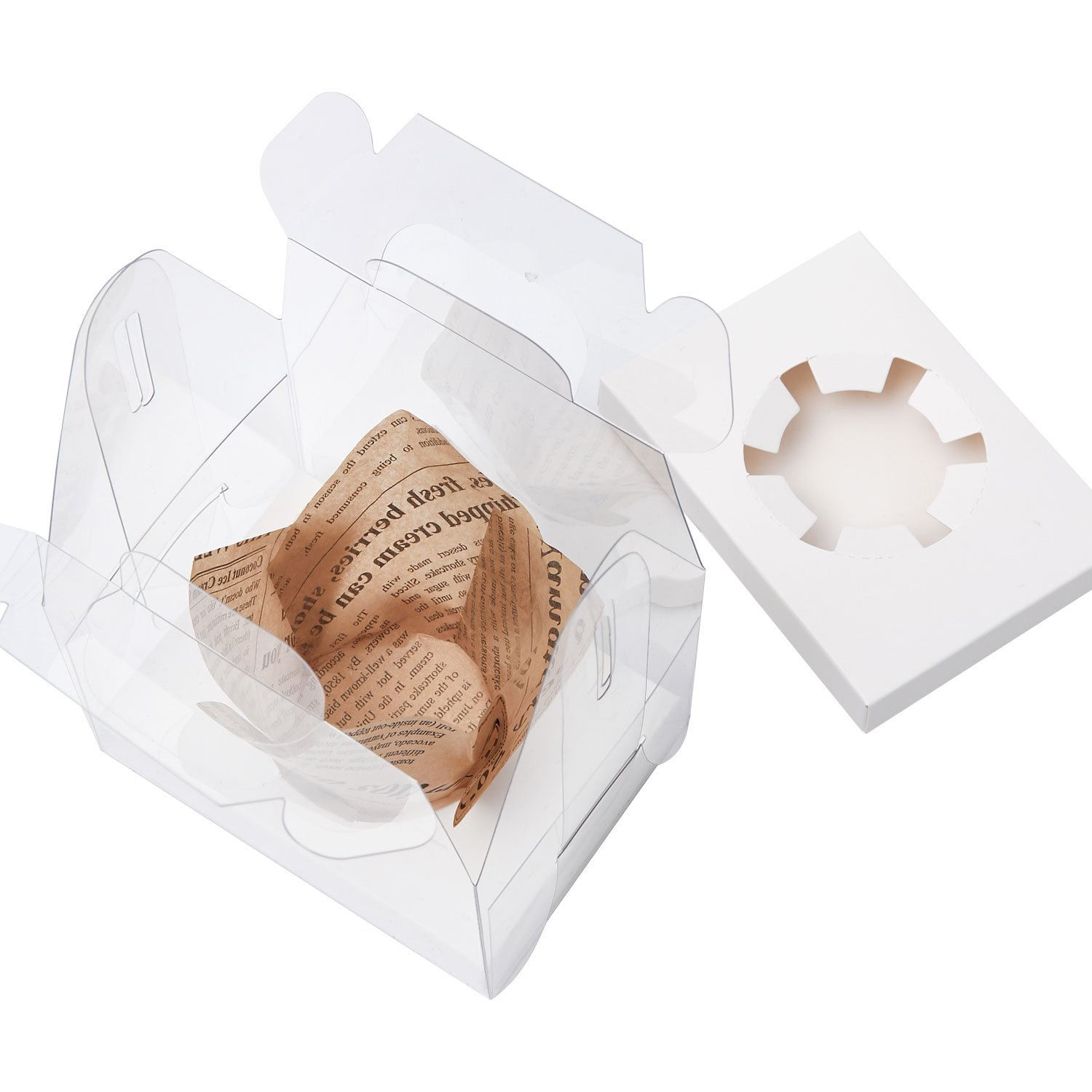 Yotruth Clear Single Cupcake Boxes With Handle and White Insert 20 Pack For Sweet Treat Box by yotruth (Image #4)